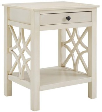 Linon Whitley End Table, Antique White, with Easy-Glide Drawer