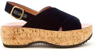 Marni Slingback Velvet Flatform Sandals - Womens - Navy