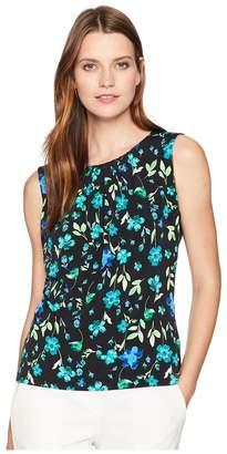 Calvin Klein Printed Pleat Neck Cami Women's Clothing