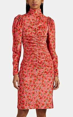 BROGGER Women's Thora Ruched Floral Velvet Dress - Red