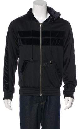 Dolce & Gabbana Velvet-Trimmed Zip Sweater
