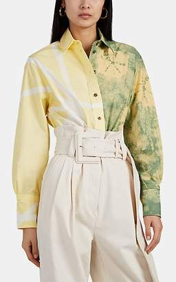 Proenza Schouler Women's Appliquéd Tie-Dyed Cotton Oversized Shirt - Yellow