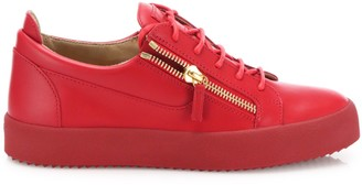 Giuseppe Zanotti Double Zipper & Lace-Up Leather Sneakers