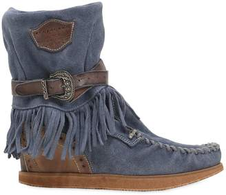 EL VAQUERO 70mm Alena Fringed Suede Wedge Boots
