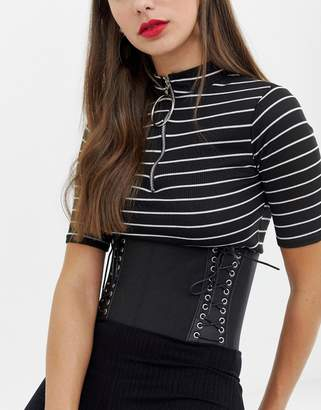 Asos Design Elastic Lace Up Side Corset Belt