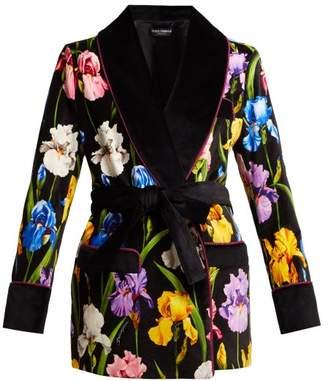 Dolce & Gabbana Iris Print Cotton Blend Jacket - Womens - Black Multi
