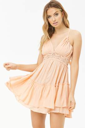 Forever 21 Boho Me Crochet-Trim Dress