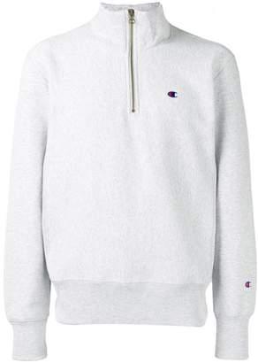 Champion logo embroidered half zip sweatshirt