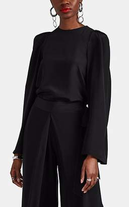 BY. Bonnie Young Women's Silk Satin Tunic Blouse - Black