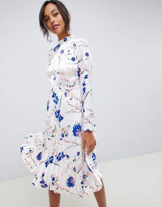 Asos Design DESIGN pleated midi dress with fluted long sleeve in floral print
