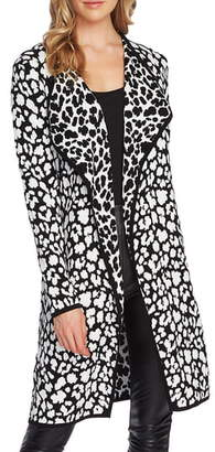 Vince Camuto Cheetah Open Front Maxi Cardigan