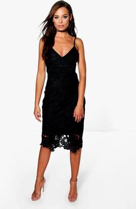 boohoo Boutique Crochet Lace Strappy Midi Dress