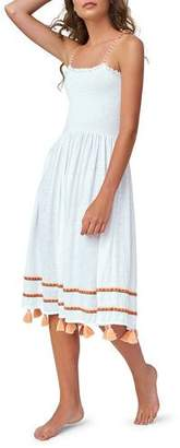 Pitusa Bella Smocked Midi Coverup Dress with Tassels