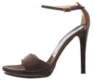Casadei Embossed Ankle-Strap Sandals