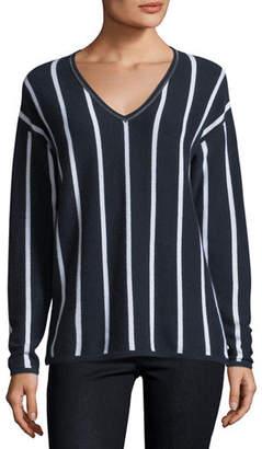 Neiman Marcus Chain-Trim Striped Cashmere V-Neck Sweater