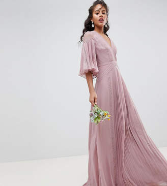 Asos Tall DESIGN Tall Bridesmaid pleated panelled flutter sleeve maxi dress with lace inserts