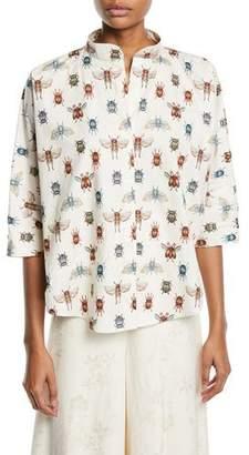 Johanna Ortiz Bugs Mandarin Collar Print Poplin Popover Blouse