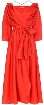 Three Graces Tessa open-shoulder silk wrap dress