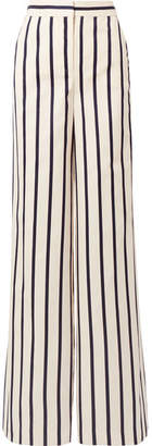 Veronica Beard Xena Striped Cotton Wide-leg Pants - White