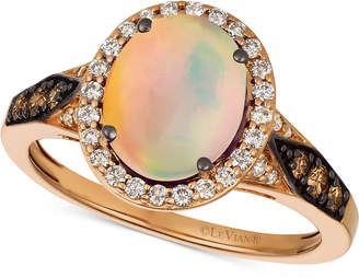 LeVian Le Vian Chocolatier Neopolitan Opal (1-1/5 ct. t.w.) & Diamond (3/8 ct. t.w.) Ring in 14k Rose Gold