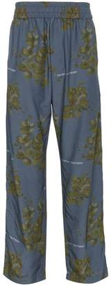Off-White x Browns blue floral print cotton blend trousers