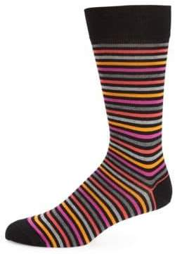Multi-Tone Pima Cotton-Blend Striped Socks