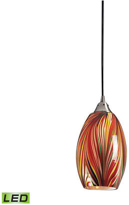 1 Light Pendant in Satin Nickel with Multi Colors Swirled Glass - Led Offering Up To 300 Lumens (25 Watt Equivalent)