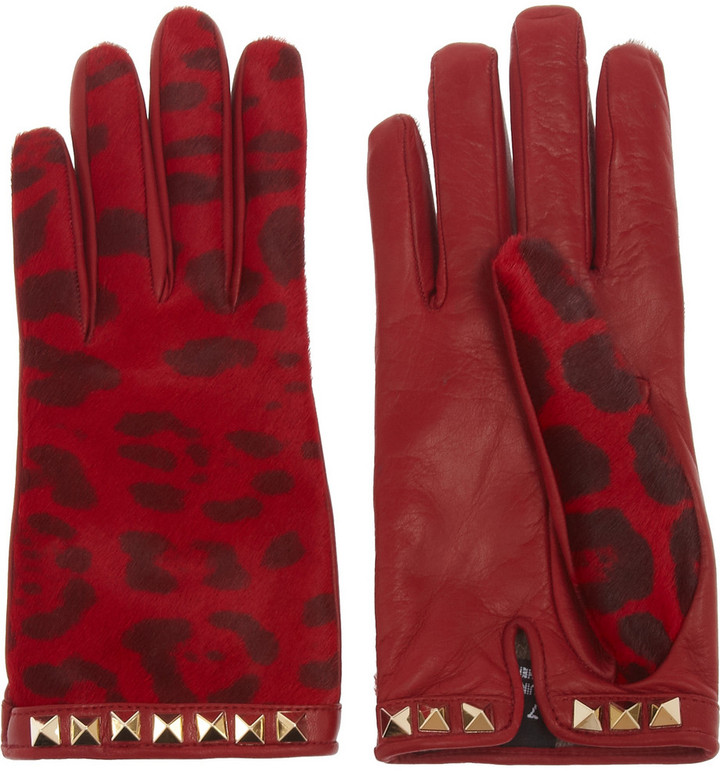 Valentino Calf hair and leather gloves