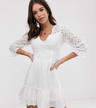Parisian Tall wrap front white dress in broderie anglaise