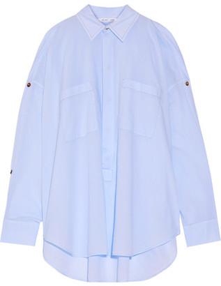 Helmut Lang - Cutout Button-detailed Cotton-poplin Shirt - Light blue $370 thestylecure.com