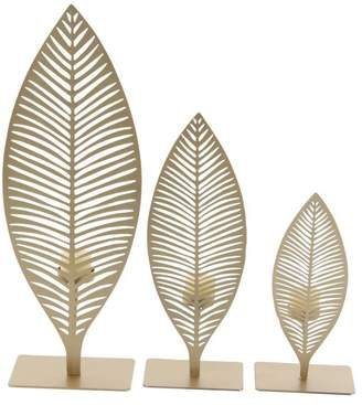 Brimfield & May Modern Iron Cut-Out Leaves Votive Candle Holders, 3-Piece Set
