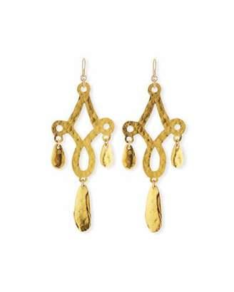 Devon Leigh Hammered Filigree Leaf Drop Earrings