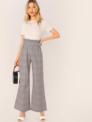 Shein Paperbag Waist Buckle Belted Wide Leg Glen Pants