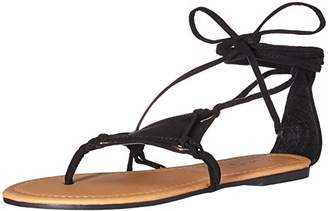 Qupid Women's Thong lace up Sandal Flat