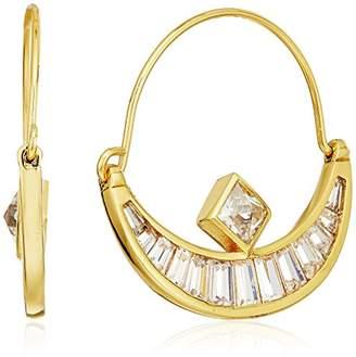 Nicole Miller New York Crescent Baguette Gold Hoop Earrings