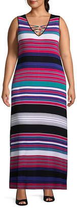 Spense Sleeveless Stripe Maxi Dress - Plus