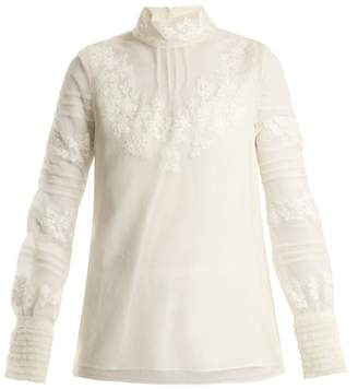 Valentino High Neck Floral Embroidered Tulle Top - Womens - Ivory