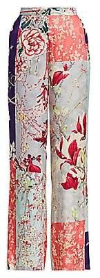 Etro Women's Patchwork Floral Wide-Leg Trousers