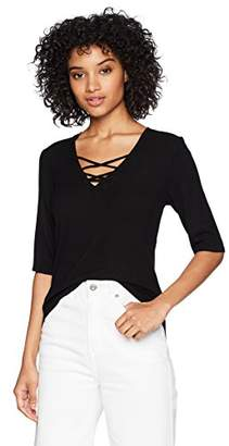 Michael Stars Women's 2x1 Rib Elbow Sleeve lace up top