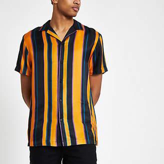 River Island Mens Yellow stripe short sleeve shirt
