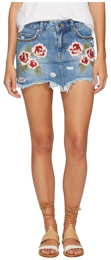 Free People - Wild Rose Embroidered Mini Skirt Women's Skirt