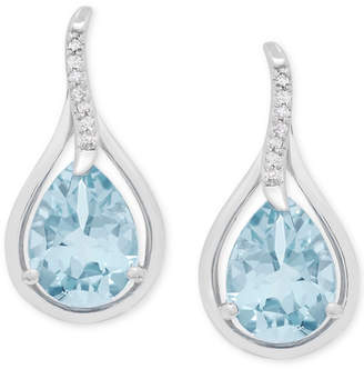 Macy's Aquamarine (1-7/8 ct. t.w.) and Diamond Accent Teardrop Stud Earrings in 14k White Gold