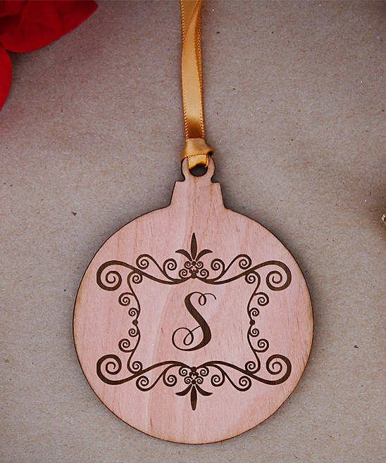 Round Scroll Frame Initial Ornament