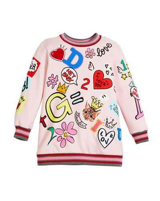Dolce & Gabbana Long Graffiti Fleece Tunic Dress, Size 4-6