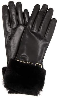 Valentino fur-trimmed leather gloves