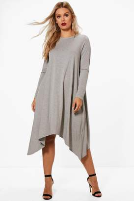 boohoo Plus Long Sleeve Hanky Hem Swing Dress