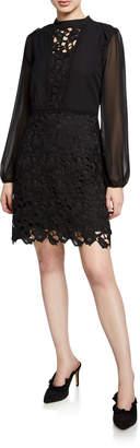 Kensie Long-Sleeve Lace/Crepe Sheath Dress