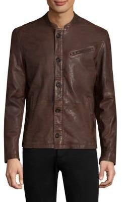 John Varvatos Button Front Leather Jacket