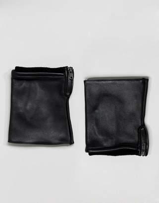 Asos Fingerless Leather Gloves In Black