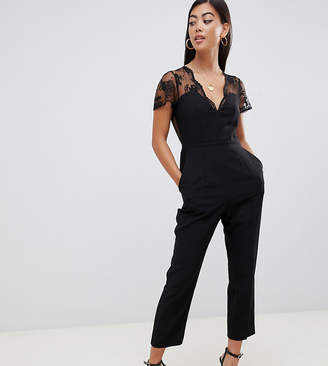 Asos DESIGN Petite jumpsuit with lace detail & tapered leg